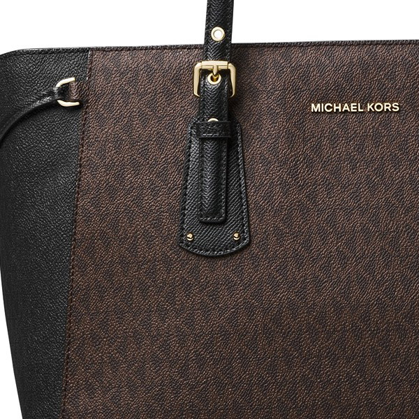 3fc30a8a573102 ... Michael Kors tote bag Michael Michael Kors 30F8GV6T8B Voyager Medium  Logo Tote (Brown/Black ...