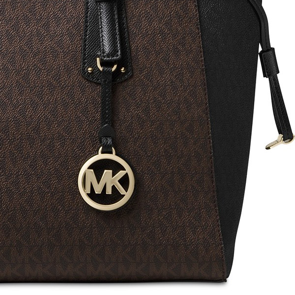 88ff3cccded57 ... cheap michael kors tote bag michael michael kors 30f8gv6t8b voyager  medium logo tote brown black 5d680