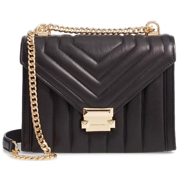 マイケルコース ショルダーバッグ 30F8GXIL3T Michael Michael Kors Whitney Large Quilted Leather Convertible Shoulder Bag (BLACK) WHITNEY ラージ ショルダー - キルテッドレザー (ブラック) 新作 正規品 レディース バッグ チェーンバッグ クロスボディ
