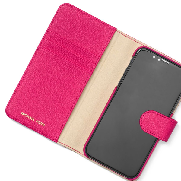 the latest 3b6a8 681c1 Michael Kors iPhone case Michael Michael Kors 32H7GE7L5L Saffiano Leather  Folio Case For iPhone X (Bright Pink) サフィアノレザー iPhoneX case ...