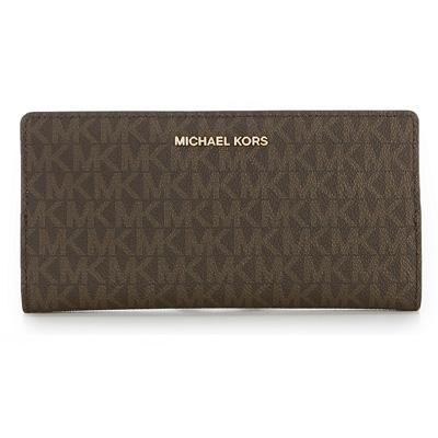 b77bf2cdb4e4 Michael Kors long wallet Michael Michael Kors 32S8GF6D7B Jet Set Logo Slim  Wallet (Brown/ ...