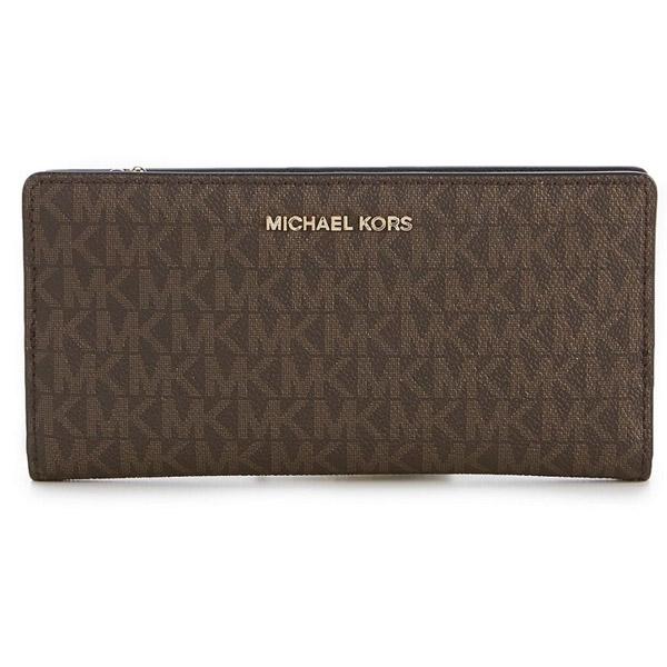 a9ef2356326de9 Michael Kors long wallet Michael Michael Kors 32S8GF6D7B Jet Set Logo Slim  Wallet (BROWN/ ...