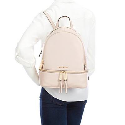 Michael Kors backpack Michael Kors 30S5SEZB1L Rhea Medium Leather Backpack (Soft Pink) rear medium leather backpack rucksack (soft pink) new work