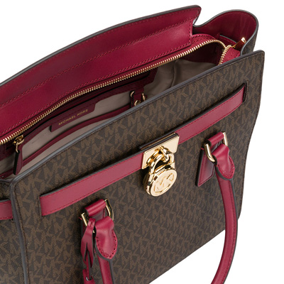 baa417c597820a ... Michael Michael course 2WAY handbag 30T7GHMS7B Michael Michael Kors  Hamilton Large Logo Satchel (Brown/ ...