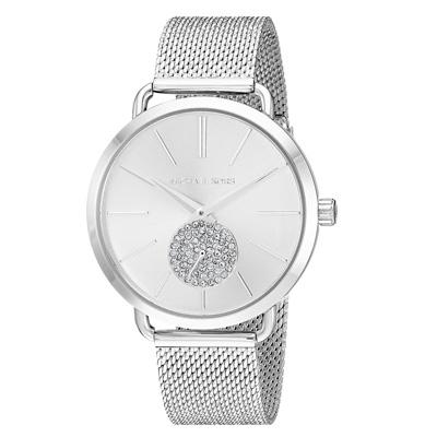 マイケルコース 腕時計 Michael Kors MK3843Women's Portia Stainless Steel Mesh Bracelet Watch 37mm (Silver) メッシュ ブレスレット ウォッチ 時計 (シルバー) 新作 正規品 レディース ジュエリー ギフト プレゼント ピンクゴールド
