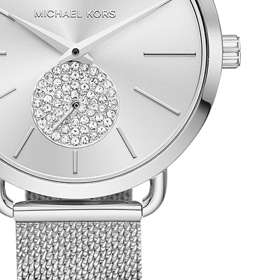 Michael Kors watch Michael Kors MK3843 Women's Portia Stainless Steel Mesh Bracelet Watch 37mm (Silver) mesh bracelet watch clock (silver) new work