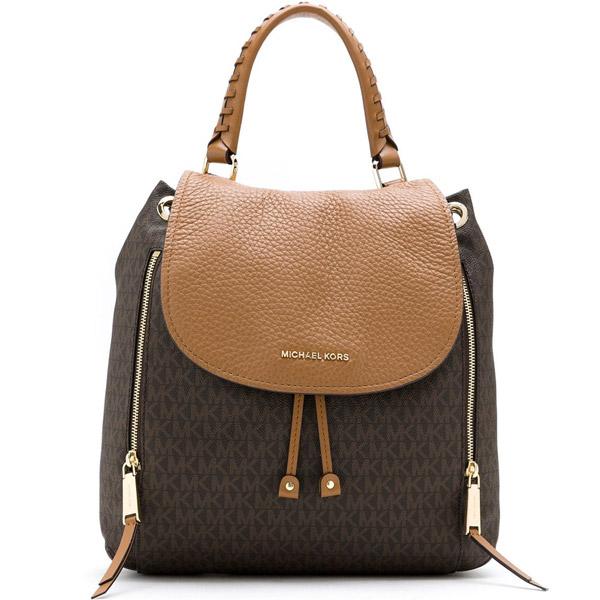 マイケルコース バックパック Michael Michael Kors 30T9GVBB7BViv Large Logo and Leather Backpack (Brown/Acorn) ラージ ロゴ&レザー バックパック (ブラウン) 新作 正規品 アメリカ買付 レディース バッグ リュック リュックサック