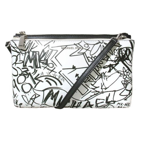 7131d3faefee Michael Kors shoulder bag Michael Michael Kors 32T8SF5C6T Adele Graffiti  Leather Crossbody (Optic White) double zip crossbody - graffiti (オプティック ...
