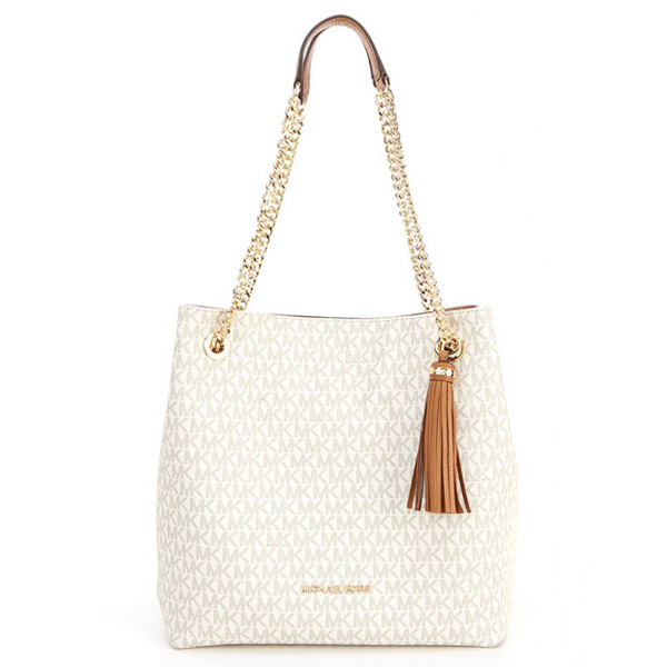Michael Kors Shoulder Bag Signature Jet Set Chain Tote Vanilla シグニチャージェットセットチェーンショルダートート New Work Regular