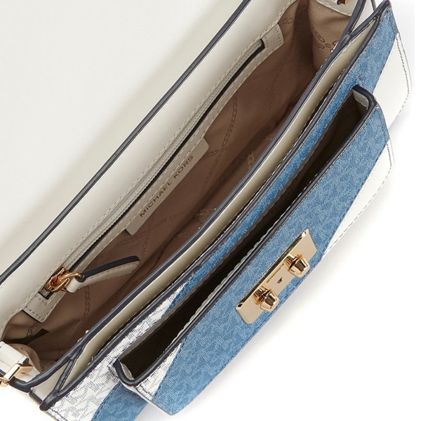 7387ad03c1bcf3 It is the shoulder strap that a combination of canvas and leather of 2  colors that MK logo was printed is stylish. The shoulder strap is removable.