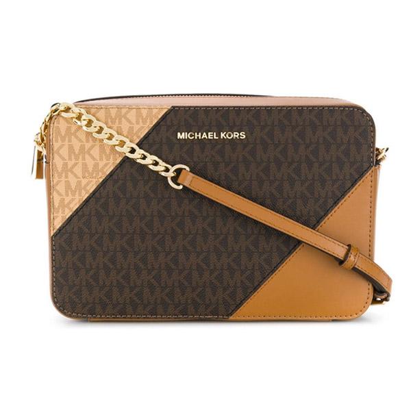 Michael Kors Shoulder Bag 32s9gf5c9b Large Tri Color Logo And Leather Crossbody Brown Ernut Top Zip