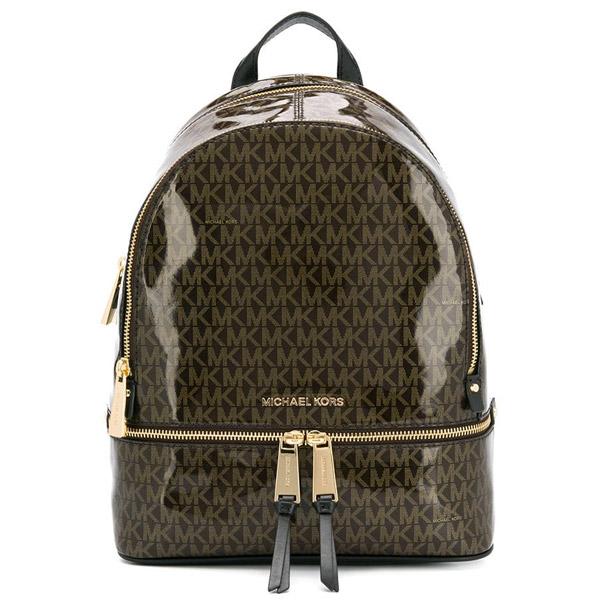 b999a483a02795 Michael Kors backpack Michael Michael Kors 30H8GEZB2V Rhea Medium Glossy  Signature Backpack (Brown) リア ...