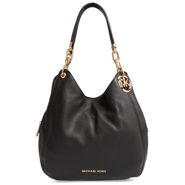 Michael Kors Shoulder Bag 30t9g0le3l Lillie Large Pebbled Leather Black Chain Thoth