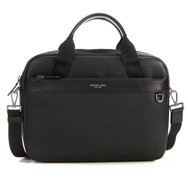 マイケルコース 2WAYバッグ Michael Michael Kors Men's Greyson Slim Leather Briefcase (Black) メンズ レザー スリム ブリーフケース (ブラック) Greyson Slim Leather Briefcase Bag 新作 正規品 アメリカ買付 男性用 バッグ 通勤 通学 ショルダーバッグ