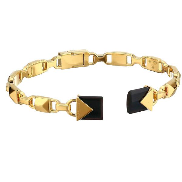 マイケルコース ブレスレット Michael Kors MKC1008AM14K Gold-Plated Sterling Silver Open Hinge Bangle (Gold/ Black Onyx) マーサーリンク ヒンジ バングル (ゴールド/ブラックオニキス) 新作 正規品 レディース ジュエリー ギフト プレゼント