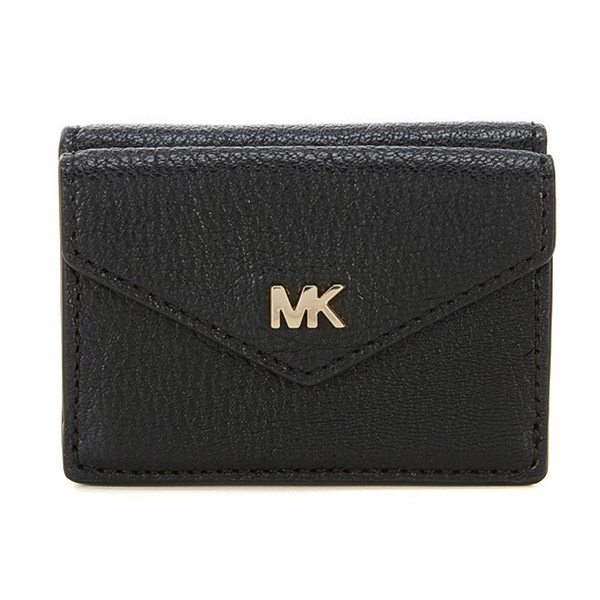 マイケルコース 二つ折り財布 32H8GF6E1T Michael Kors Shiny Leather Trifold Flap Wallet (Black) スモール トライフォールド フラップ ウォレット 財布 (ブラック) 新作 正規品 レディース ミニ財布 コンパクト 三つ折り