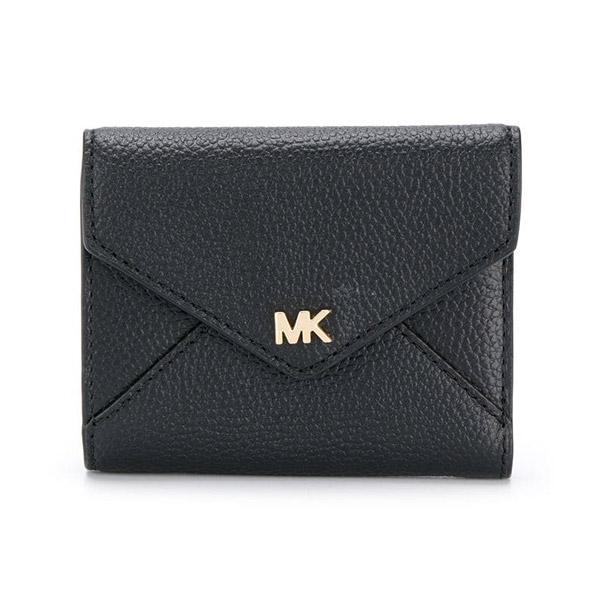 マイケルコース 二つ折り財布 32S9GF6E6L Michael Michael Kors Medium Pebbled Leather Envelope Wallet (BLACK) ミディアム スリム エンベロープ トライフォールド ウォレット 財布 (ブラック) 新作 正規品 アメリカ買付 レディース 三つ折り財布 コンパクト ミニ