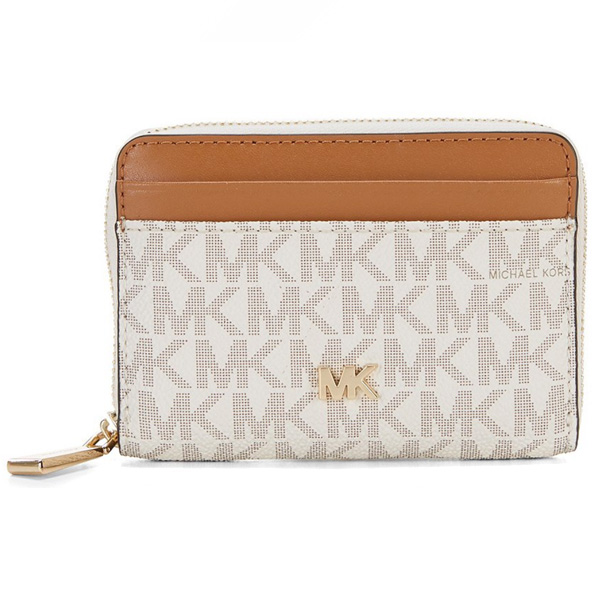 09eb1da5f9dc Michael Kors card case Michael Michael Kors 32F8GF6Z1B Small Logo and Leather  Wallet (Vanilla/ ...