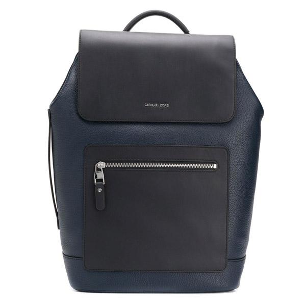 マイケルコース バックパック 33S0LHDB2L Michael Kors Hudson Pebbled Leather Backpack (Navy) HUDSON フラップ バックパック (ネイビー)