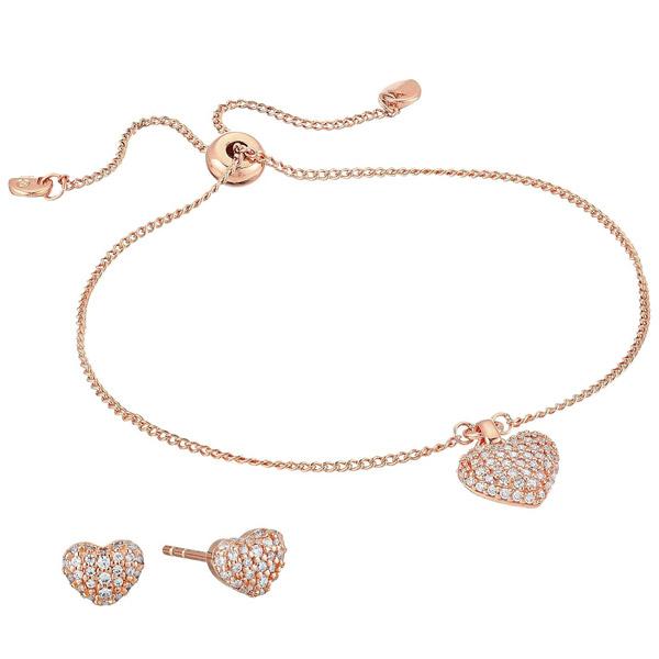 マイケルコース ブレスレット/ピアス Michael Michael Kors Sterling Silver Pave Puffed Heart Slider Bracelet & Stud Earrings Set (Rose Gold) パヴェ ハート スライダー ブレスレット & ピアス セット (ローズゴールド) 新作 正規品 レディース ジュエリー