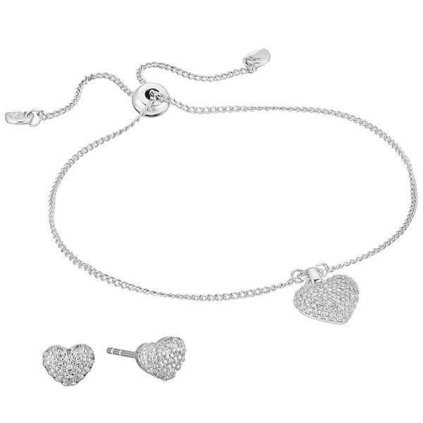 マイケルコース ブレスレット/ピアス Michael Michael Kors Sterling Silver Pave Puffed Heart Slider Bracelet & Stud Earrings Set (Silver) パヴェ ハート スライダー ブレスレット & ピアス セット (シルバー) 新作 正規品 レディース ジュエリー