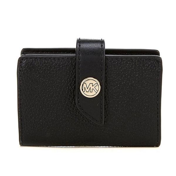 マイケルコース 二つ折り財布 Michael Michael Kors Tab Leather Card Case (Black) タブ レザー カードケース 財布 (ブラック) MK Charm Small Tab Pebble Leather Card Case 新作 正規品 アメリカ買付 レディース 小銭入れ コインケース