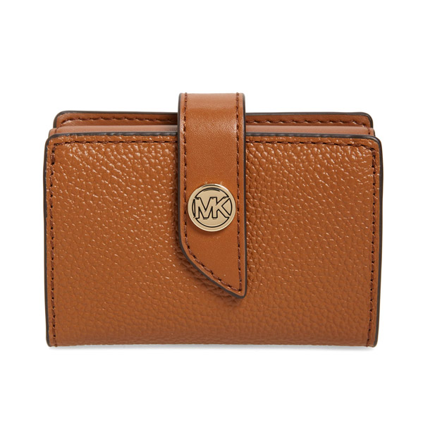 マイケルコース 二つ折り財布 Michael Michael Kors Tab Leather Card Case (Luggage) タブ レザー カードケース 財布 (ラゲッジ) MK Charm Small Tab Pebble Leather Card Case 新作 正規品 アメリカ買付 レディース 小銭入れ コインケース