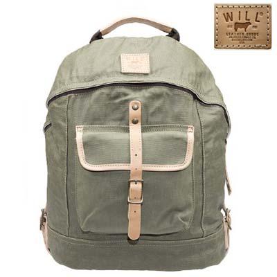 ウィルレザーグッズ Will Leather Goods バックパックWax Coated Canvas Dome Backpack(Olive)ワックスコート キャンバス ドーム バックパック(オリーブ) 新作 正規品 アメリカ買付 USA直輸入