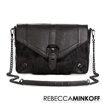 レベッカミンコフ REBECCA MINKOFF レディースバッグクラッチバッグ(ブラック)Cooper Leather & Fur-Trimmed(Black)★ 正規品 日本未入荷 アメリカ買付 USA直輸入