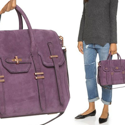 Rebecca Minkoff Bag Las Suede Jules Satchel Aubergine Nubuck 2way Autumn Winter Purple Brand