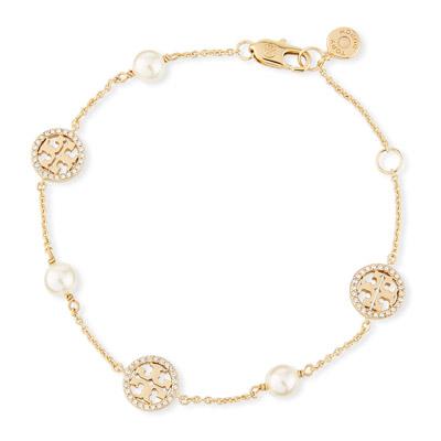 トリーバーチ ブレスレット Tory BurchCrystal & Pearly Delicate Logo Bracelet (Gold) クリスタル パール デリケート ロゴ ブレスレット (ゴールド) 新作 正規品 レディース ジュエリー アクセサリー バングル ギフトプレゼント 誕生日 クリスマス