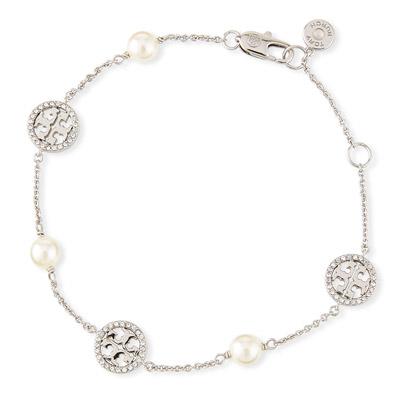 トリーバーチ ブレスレット Tory BurchCrystal & Pearly Delicate Logo Bracelet (Silver) クリスタル パール デリケート ロゴ ブレスレット (シルバー) 新作 正規品 レディース ジュエリー アクセサリー バングル ギフトプレゼント 誕生日 クリスマス