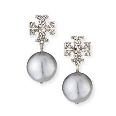 トリーバーチ ピアス Tory Burch Crystal Pave Pearl Drop Earrings (Silver) クリスタル パール ドロップ ピアス ピアス (シルバー) 新作 正規品 レディース ジュエリー イヤリング ギフトプレゼント 誕生日 クリスマス