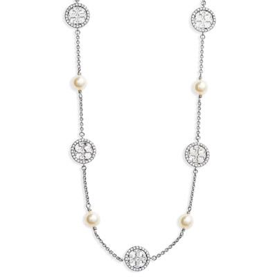 トリーバーチ ネックレス Tory Burch Crystal & Imitation Pearl Necklace (Tory Silver/ Crystal/ Pearl) クリスタル ロゴ パール ペンダント ネックレス (シルバー) 新作 正規品 レディース ジュエリー ギフトプレゼント 誕生日 クリスマス