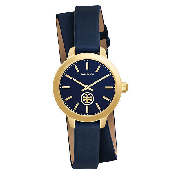 トリーバーチ 腕時計 Tory Burch TRB1303COLLINS DOUBLE-WRAP WATCH, NAVY LEATHER/GOLD-TONE, 32 MM (GOLD TONE/NAVY/NAVY) ダブルラップ レザーストラップ 腕時計 (ネイビー) 新作 正規品 USA直輸入 アメリカ買付 レディース ウォッチ 時計 ギフト プレゼント