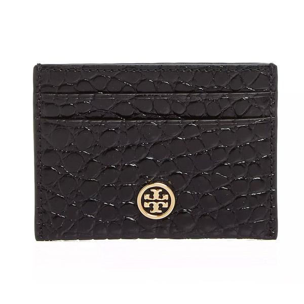 トリーバーチ カードケース Tory Burch Robinson Embossed Leather Card Case (Black) ロビンソン エンボスドレザー カードケース (ブラック) 新作 正規品 アメリカ買付 レディース 財布 カードホルダー クロコダイル柄