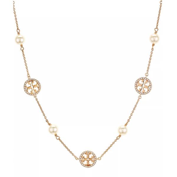 decdcd3f675562 Tolly Birch necklace Tory Burch Crystal Logo Station Necklace, 30