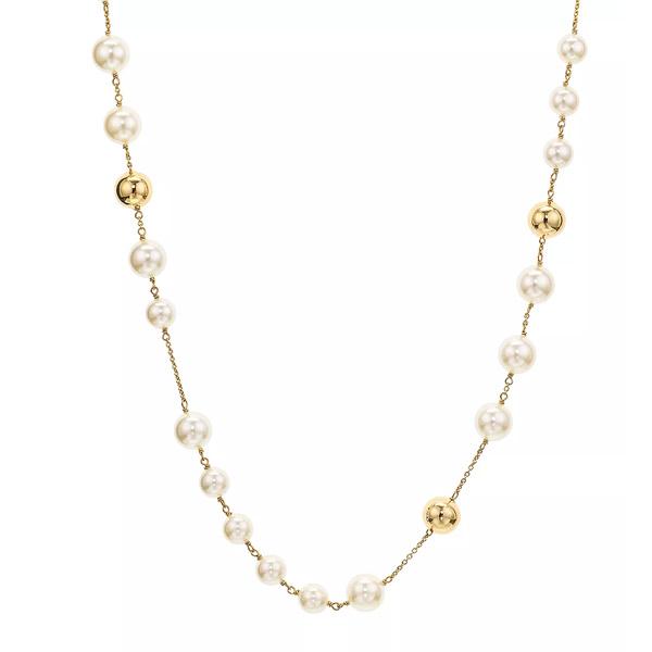 トリーバーチ ネックレス Tory Burch 54066LOGO PEARL ROSARY (Tory Gold / Pearl) ロゴ パール ロザリー ネックレス (ゴールド) Logo Rosary Necklace, 37