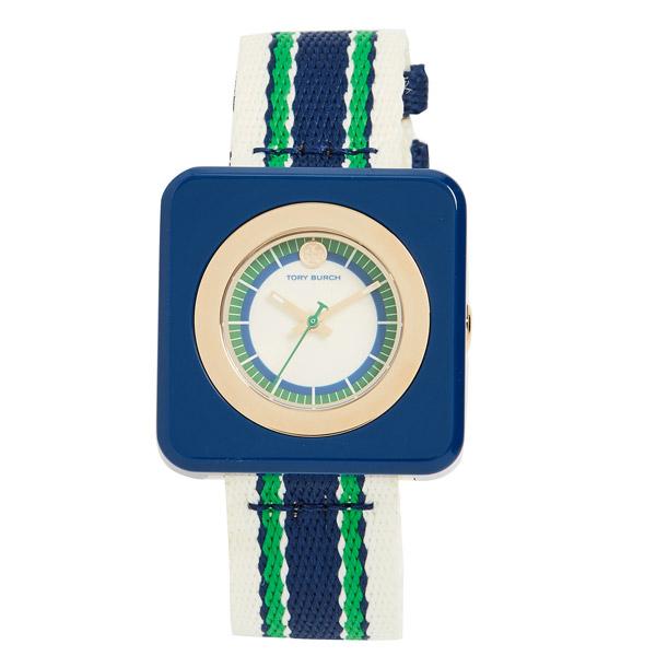 トリーバーチ 腕時計 Tory Burch The Izzie Striped Strap Watch, 36mm x 36mm (White/Multi) ストライプストラップ ウォッチ 時計 (マルチ) Izzie Square Textile Strap Watch 新作 正規品 レディース アクセサリー ジュエリー