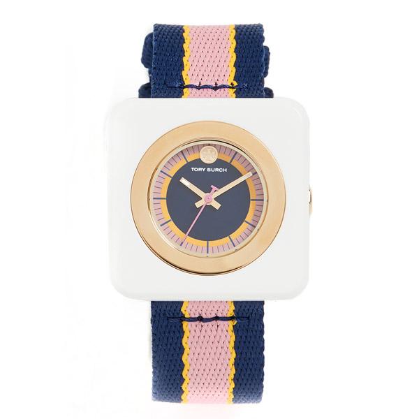 トリーバーチ 腕時計 Tory Burch The Izzie Striped Strap Watch, 36mm x 36mm (Navy/Multi) ストライプストラップ ウォッチ 時計 (マルチ) Izzie Square Textile Strap Watch 新作 正規品 レディース アクセサリー ジュエリー