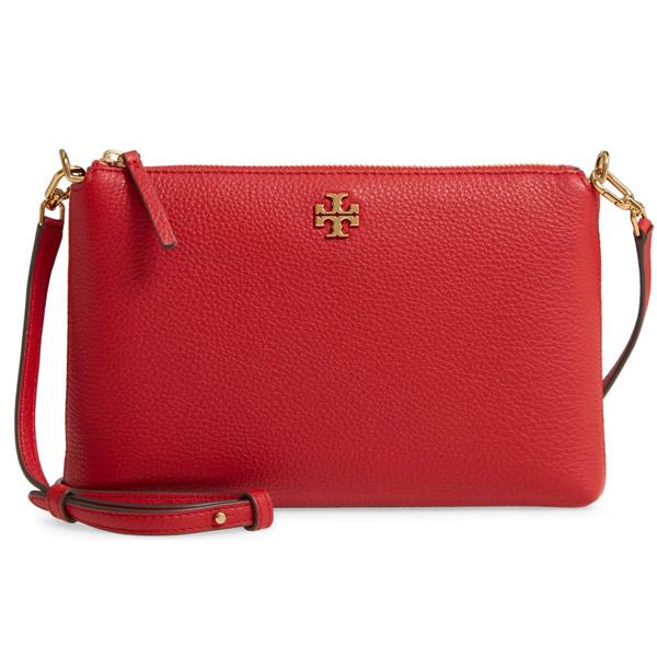 トリーバーチ ショルダーバッグ Tory Burch Kira Pebbled Leather Wallet Shoulder Bag (Red Apple) キラ レザー ウォレット ショルダーバッグ (レッド) 新作 正規品 アメリカ買付 レディース ミニバッグ ポシェット クロスボディバッグ