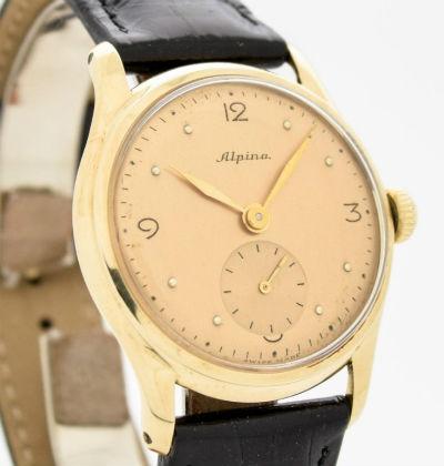 ALPINA海外直輸入品【ヴィンテージ】14金YG製 アンティークウォッチ1950's