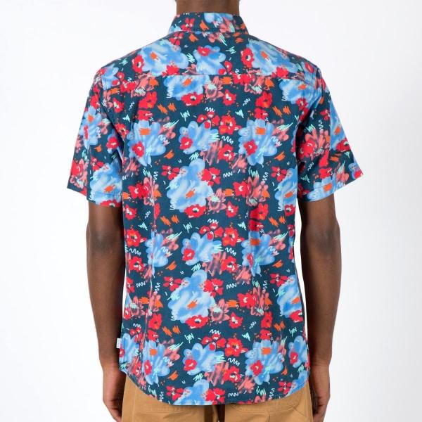 形露營東西 (極) 花幻想曲短袖按鈕起襯衫休閒短袖襯衫上衣印戶外