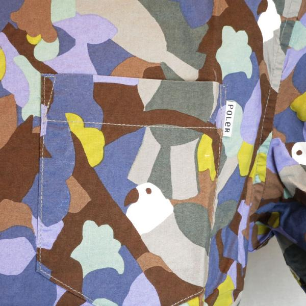 POLER CAMPING STUFF(polar)BIRDY S/S WOVEN休閒短袖襯衫頂端打印資料門