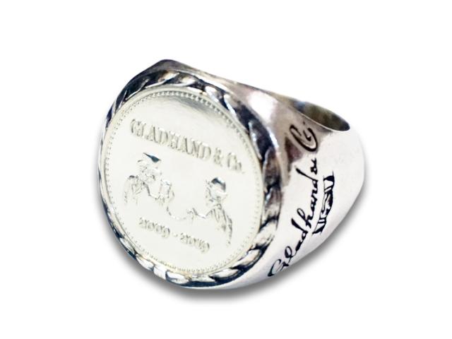 """【GLAD HAND/グラッドハンド】「Medal Ring""""K10""""/メダルリング""""K10""""」(GANGSTERVILLE/ギャングスタービル/WEIRDO/ウィアード/OLD CROW/オールドクロウ/WOLF PACK/ウルフパック/アメカジ/アクセサリー/プレゼント)"""