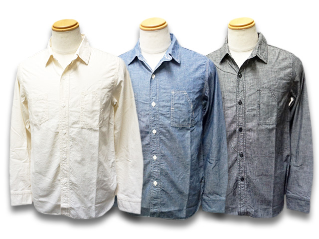 """全3色【CWORKS/シーワークス】2020SS「Chambray Work Shirts""""Bridgeport""""/シャンブレーワークシャツ""""ブリッジポート""""」(FCST001)【送料・代引き手数料無料】【あす楽対応】(FINE CREEK LEATHERS/ファインクリークレザーズ/MOSSIR/モシール/アメカジ/ハーレー)"""