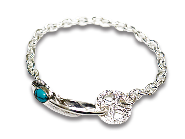 【FIRST ARROW's/ファーストアローズ】「Small Feather Hook+Medicine Wheel Chain Bracelet with Turquoise/ターコイズ付スモールフェザーフック+メディスンホイールチェーンブレスレット」(BR-307)【送料・代引き手数料無料】【あす楽対応】(アメカジ)