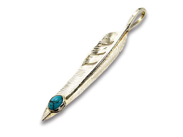"""【FIRST ARROW's/ファーストアローズ】「Large Kazekiri Feather with Turquoise""""Left""""/ターコイズ付きラージ風切りフェザー""""左向き""""」(P-430L)【送料・代引き手数料無料】【あす楽対応】(アメカジ/ハーレー/バイカー/アクセサリー/プレゼント)"""