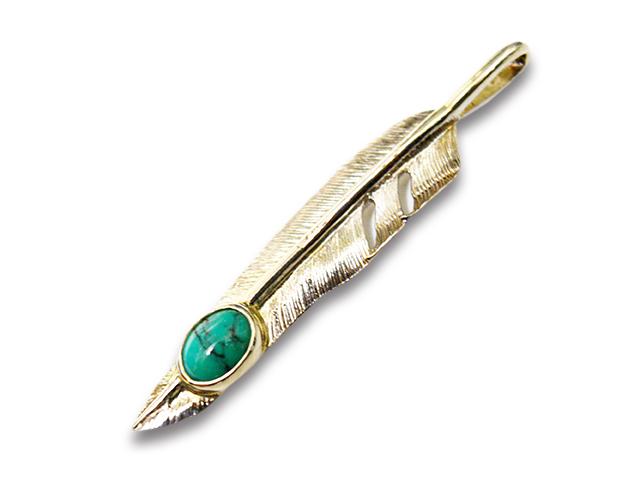 """【FIRST ARROW's/ファーストアローズ】「Medium Kazekiri Feather with Turquoise""""Right""""/ターコイズ付きミディアム風切りフェザー""""右向き""""」(P-559R)【送料・代引き手数料無料】【あす楽対応】(アメカジ/ハーレー/バイカー/アクセサリー/プレゼント)"""