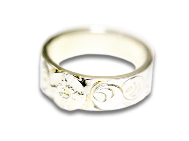 【FIRST ARROW's/ファーストアローズ】「Flat Hammered 8mm Arabesque Carving Ring with SV/SV付き平打8mmカラ草彫りリング」(R-010)【送料・代引き手数料無料】【あす楽対応】(アメカジ/ハーレー/バイカー/アクセサリー/プレゼント)
